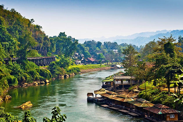 Panoramic view of the River Kwai in Kanchanaburi, Thailand