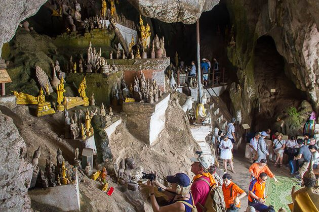 School group visit Pak Ou Caves in Laos