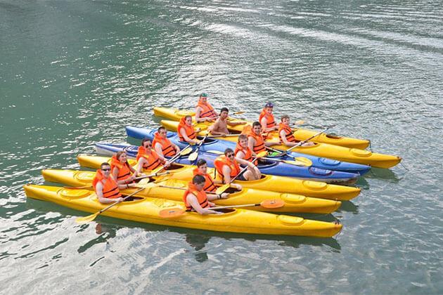 Students kayaking in Halong Bay