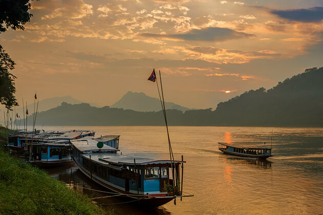 Stunning sunset on the Mekong River