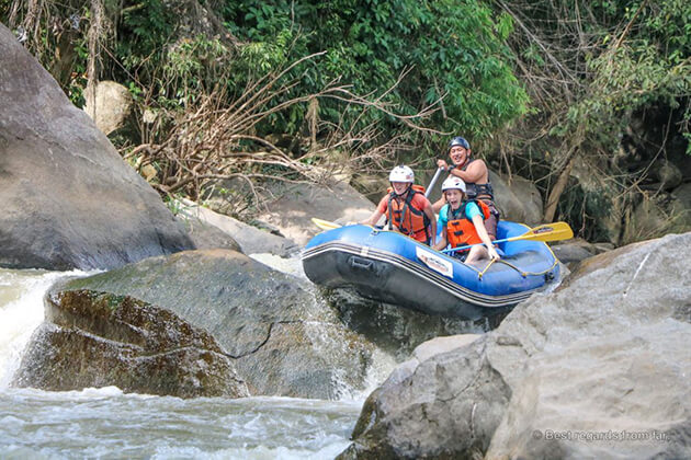 Whitewater Rafting exploration from Thailand school trip