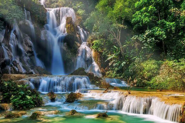school tour to Laos visit Kuang Si Waterfall