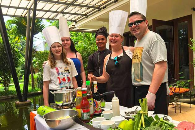 students of Cambodia school trips join Treak Village Cooking Class