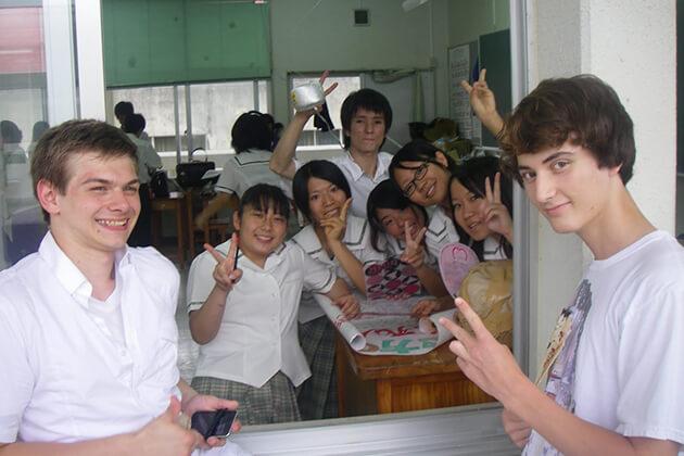 students of Educational School trip visit Koyo High School